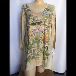 S to XL Tropical island flamingo shirt tunic NWT